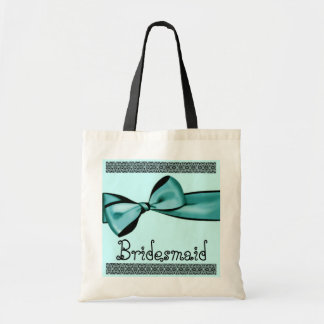 Brautjungfern-Taschen-Aqua-blauer Imitat-Satin-Bog Budget Stoffbeutel
