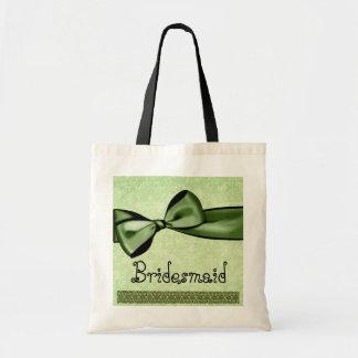 Brautjungfern-Taschen-Grün-Imitat-Satin-Bogen und  Budget Stoffbeutel