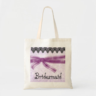 Brautjungfern-Taschen-lila gestreifter Bogen-Spitz Budget Stoffbeutel