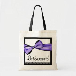 Brautjungfern-Taschen-lila Imitat-Satin-Bogen und Budget Stoffbeutel