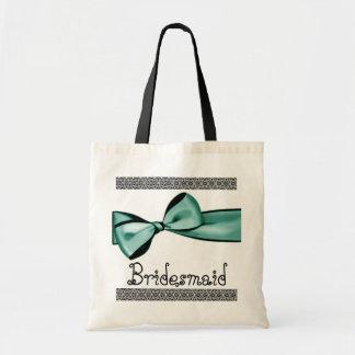 Brautjungfern-Taschen-Minzen-Grün-Imitat-Satin-Bog Budget Stoffbeutel