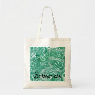 Brautjungfern-Taschen-Minzen-Grün-Rosen Budget Stoffbeutel