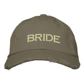 Brautkappe im Armeegrün Bestickte Kappe