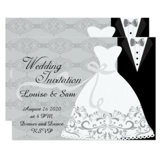 Brautkleider-und BräutigamTux UAWG 12,7 X 17,8 Cm Einladungskarte