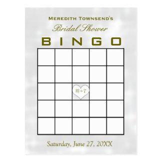 Brautparty-Bingo-Monogramm-Herz Postkarten