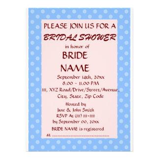 Brautparty - blaue Polka-Punkte rosa Hintergrund Individuelle Einladung