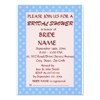 Brautparty - blaue Polka-Punkte, rosa Hintergrund 16,5 X 22,2 Cm Einladungskarte