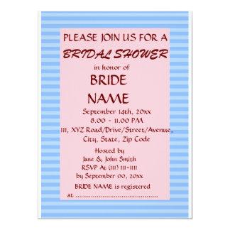 Brautparty - blaue Streifen, rosa Hintergrund 16,5 X 22,2 Cm Einladungskarte