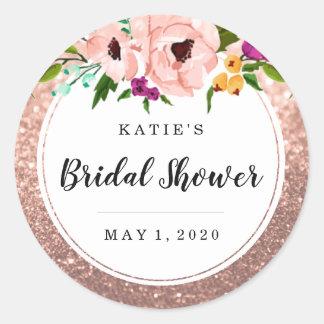Bridal Shower Flower Crown Glitter Pink Rose Gold
