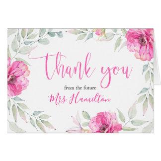Brautparty danken Ihnen der rosa Blumen Watercolor Karte