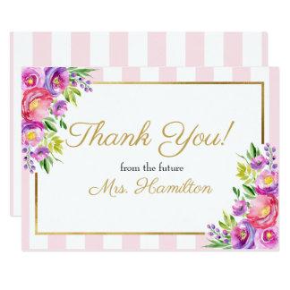 Brautparty danken Ihnen rosa und dem Blumen Gold Karte