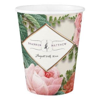 Brautparty-Dekor-Vintages rosa Rosen-mit Pappbecher