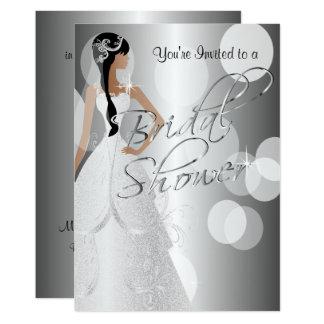 Brautparty-Einladung im metallischen Silber Karte
