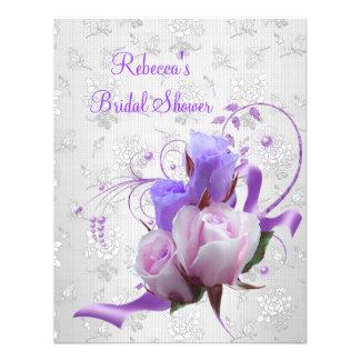 Brautparty-elegante lila rosa weiße Blumen Individuelle Einladungskarte