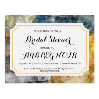 Brautparty für Weinberg-oder Weinkellerei-Hochzeit Postkarte
