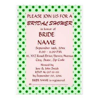 Brautparty - grüne Polka-Punkte rosa Hintergrund Individuelle Ankündigungen