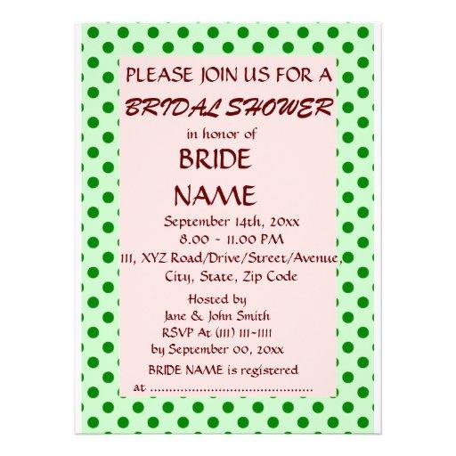 Brautparty - grüne Polka-Punkte, rosa Hintergrund Individuelle Ankündigungen