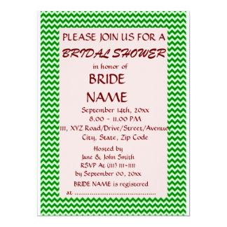 Brautparty - grüner Zickzack, rosa Hintergrund 16,5 X 22,2 Cm Einladungskarte