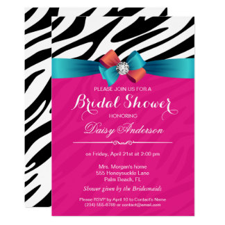 Brautparty - heißes Rosazebra-Druck-Band-Bogen 12,7 X 17,8 Cm Einladungskarte