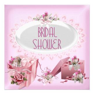 Brautparty-hübscher weißer rosa Damast Individuelle Einladung