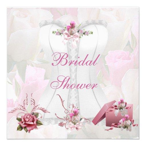 Brautparty-hübsches weißes rosa Korsett mit Blumen Einladung