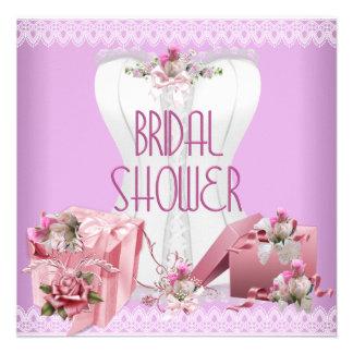 Brautparty-hübsches weißes rosa lila Korsett Personalisierte Ankündigungskarte