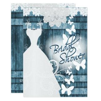 Brautparty im rustikalen blauen Scheunen-Holz und 12,7 X 17,8 Cm Einladungskarte