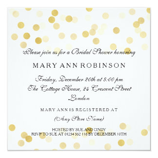 Brautparty-Imitat-Goldfolien-Glitter-Lichter Quadratische 13,3 Cm Einladungskarte
