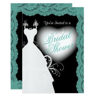 Brautparty in der aquamarinen Spitze auf Schwarzem 12,7 X 17,8 Cm Einladungskarte