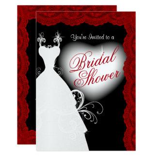 Brautparty in der tiefen dunkelroten Spitze auf 12,7 X 17,8 Cm Einladungskarte