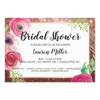 Bridal Shower Invite Flowers Glitter Plum