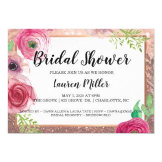 Brautparty laden Blumen-Glitzer-Rosa RoseGold ein