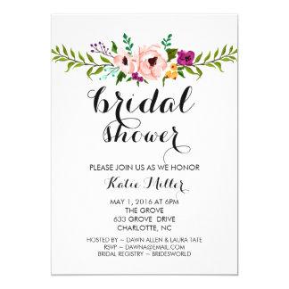 Brautparty laden - Blumen-Krone ein Karte
