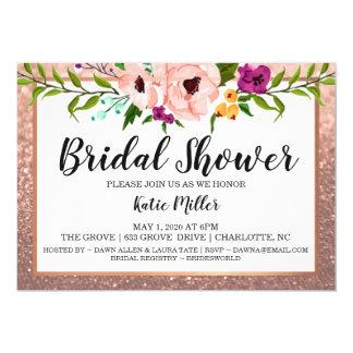 Bridal Shower Invite Flower Crown Glitter RoseGold