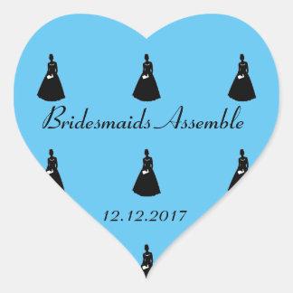 Brautparty laden Siegel ein Herz-Aufkleber