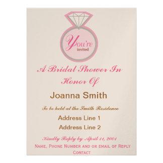 Brautparty lädt Brown und Rosa ein Individuelle Einladung