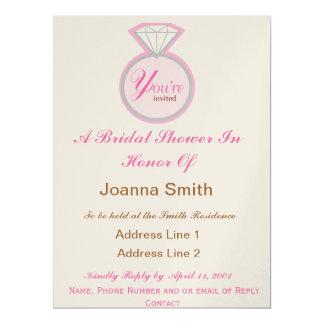 Brautparty lädt Brown und Rosa ein 16,5 X 22,2 Cm Einladungskarte