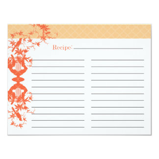 Brautparty-Rezept-Karte - Orange 10,8 X 14 Cm Einladungskarte