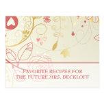 Brautparty-Rezept-Karten-Vintages Blumen Postkarten