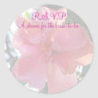 Brautparty-rosa Blume Runder Aufkleber