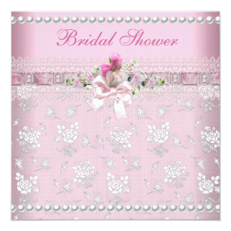 Brautparty-rosa Damast-Spitze-Hochzeit Individuelle Ankündigung