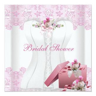 Brautparty-rosa Damast-Spitze-Hochzeit Quadratische 13,3 Cm Einladungskarte
