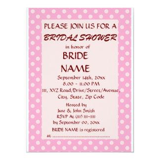 Brautparty - rosa Polka-Punkte, rosa Hintergrund 16,5 X 22,2 Cm Einladungskarte