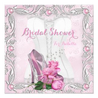 Brautparty-rosa Rosen-hallo Fersen-Spitze-Damast 2 Quadratische 13,3 Cm Einladungskarte