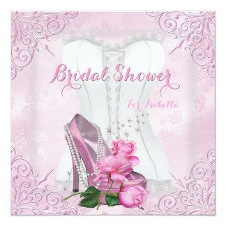 Brautparty-rosa Rosen-hallo Fersen-Spitze-Damast Personalisierte Einladungskarte