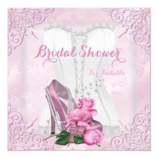 Brautparty-rosa Rosen-hallo Fersen-Spitze-Damast Quadratische 13,3 Cm Einladungskarte
