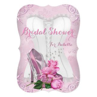 Brautparty-rosa Rosen-hohe Fersen-Blumendamast 12,7 X 17,8 Cm Einladungskarte