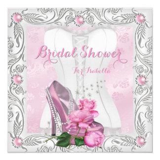 Brautparty-rosa Rosen-hoher Heels-Spitze-Zauber Quadratische 13,3 Cm Einladungskarte