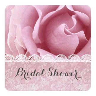 BRAUTPARTY rosa Rosen-Spitzegrunge-Damast A01B Quadratische 13,3 Cm Einladungskarte