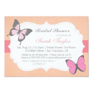Brautparty, rosa Schmetterlings-Einladung 11,4 X 15,9 Cm Einladungskarte